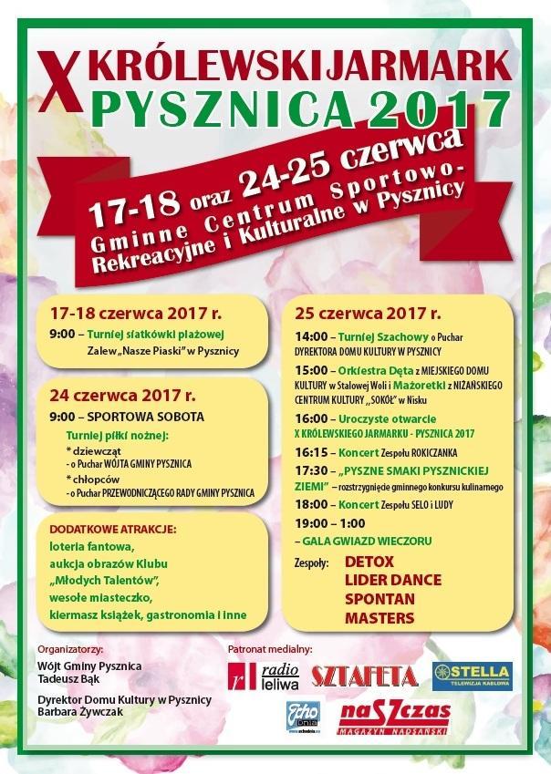 plakat jarmark Zapraszamy na X Królewski Jarmark – Pysznica 2017
